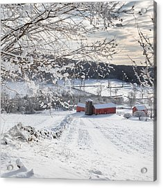 New England Winter Farms Square Acrylic Print