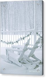 New England Winter Porch Acrylic Print by Diane Diederich