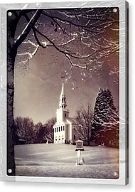 New England Winter Village Scene Acrylic Print by Thomas Schoeller