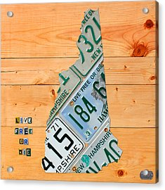 New Hampshire License Plate Map Live Free Or Die Old Man Of The Mountain Acrylic Print