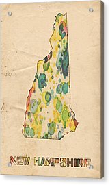New Hampshire Map Vintage Watercolor Acrylic Print