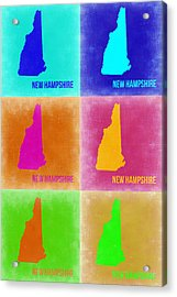 New Hampshire Pop Art Map 2 Acrylic Print by Naxart Studio