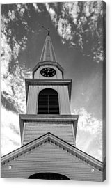 New Hampshire Steeple Detailed View Black And White Acrylic Print by Karen Stephenson