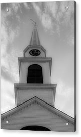 New Hampshire Steeple Dreamy View Black And White Acrylic Print by Karen Stephenson