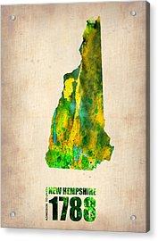 New Hampshire Watercolor Map Acrylic Print by Naxart Studio