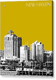 New Haven Skyline - Gold Acrylic Print by DB Artist