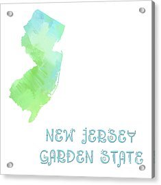 New Jersey - Garden State - Map - State Phrase - Geology Acrylic Print by Andee Design