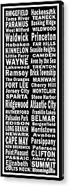 New Jersey Towns Canvas Art.com Acrylic Print by Joans Craft World
