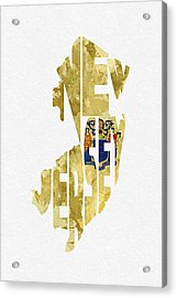 New Jersey Typographic Map Flag Acrylic Print