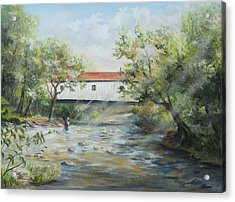 Acrylic Print featuring the painting New Jersey's Last Covered Bridge by Katalin Luczay
