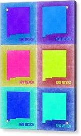 New Mexico Pop Art Map 2 Acrylic Print by Naxart Studio