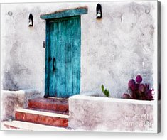 New Mexico Turquoise Door And Cactus  Acrylic Print by Barbara Chichester