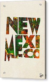 New Mexico Typographic Watercolor Map Acrylic Print