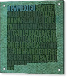 New Mexico Word Art State Map On Canvas Acrylic Print