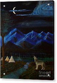 New Moon Howling Acrylic Print by Stephen Schaps