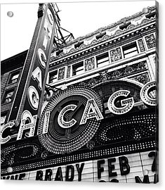 Chicago Theatre Sign Black And White Photo Acrylic Print by Paul Velgos