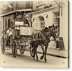 New Orleans - Carriage Ride Sepia Acrylic Print