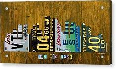 New Orleans Louisiana City Skyline Vintage License Plate Art On Wood Acrylic Print