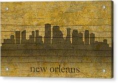 New Orleans Louisiana Skyline Silhouette Distressed On Worn Peeling Wood Acrylic Print