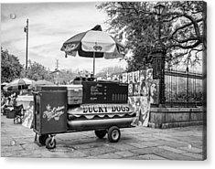 New Orleans - Lucky Dogs Bw Acrylic Print by Steve Harrington