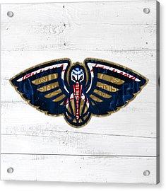 New Orleans Pelicans Basketball Team Retro Logo Vintage Recycled Louisiana License Plate Art Acrylic Print