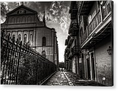 New Orleans' Pirates Alley In Black And White Acrylic Print by Greg and Chrystal Mimbs