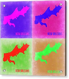 New Orleans Pop Art Map 2 Acrylic Print by Naxart Studio