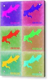 New Orleans Pop Art Map 3 Acrylic Print by Naxart Studio