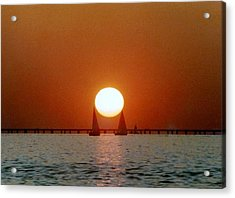 Acrylic Print featuring the photograph New Orleans Sailing Sun On Lake Pontchartrain by Michael Hoard