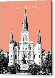 New Orleans Skyline Jackson Square - Salmon Acrylic Print by DB Artist