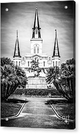 New Orleans St. Louis Cathedral Black And White Picture Acrylic Print by Paul Velgos