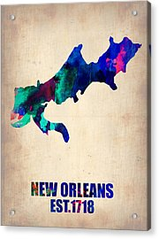 New Orleans Watercolor Map Acrylic Print