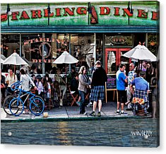 People Are Flooding To The Starling Diner Acrylic Print by Bob Winberry