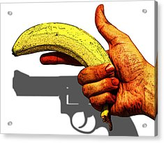 New Photographic Art Print For Sale   Hand Gun Against A White Background Acrylic Print