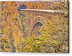 New River Gorge Single-span Arch Bridge In Autumn. Acrylic Print