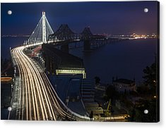 New San Francisco Oakland Bay Bridge Acrylic Print by Adam Romanowicz