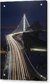 New San Francisco Oakland Bay Bridge Vertical Acrylic Print by Adam Romanowicz
