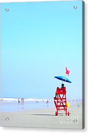 Acrylic Print featuring the digital art New Smyrna Lifeguard by Valerie Reeves