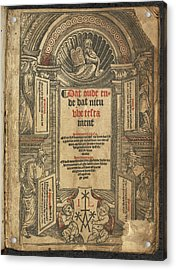 New Testament Title Page Acrylic Print by British Library