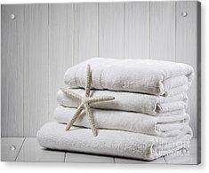 New White Towels Acrylic Print by Amanda Elwell