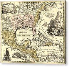 New World Map Acrylic Print by Gary Grayson