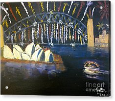 Acrylic Print featuring the painting New Year Eve On Sydney Harbour by Pamela  Meredith