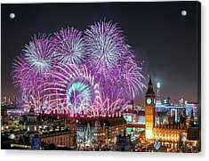 New Year Fireworks Acrylic Print by Stewart Marsden