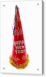 Happy New Year Party Hat Acrylic Print by Vizual Studio