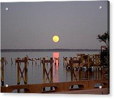 New Years Eve Blue Moon On The Bay Acrylic Print