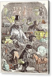 New Years Gifts The Toyshop Jackson Children 1860 Acrylic Print by English School
