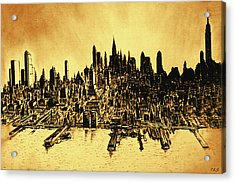 New York Skyline 78 - Mid Manhattan Ink Watercolor Painting Acrylic Print
