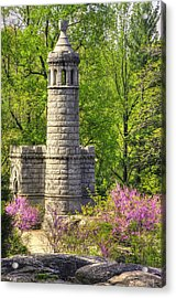 New York At Gettysburg - Monument To 12th / 44th Ny Infantry Regiments-2a Little Round Top Spring Acrylic Print by Michael Mazaika