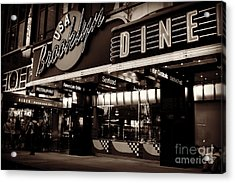 New York At Night - Brooklyn Diner - Sepia Acrylic Print
