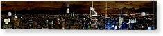 New York At Night Panorama Acrylic Print